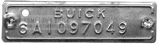 1954 Buick VIN Plate