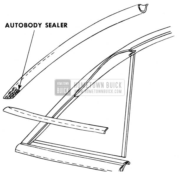 1950 Buick Front Door Upper Reveal Molding Autobody Sealer
