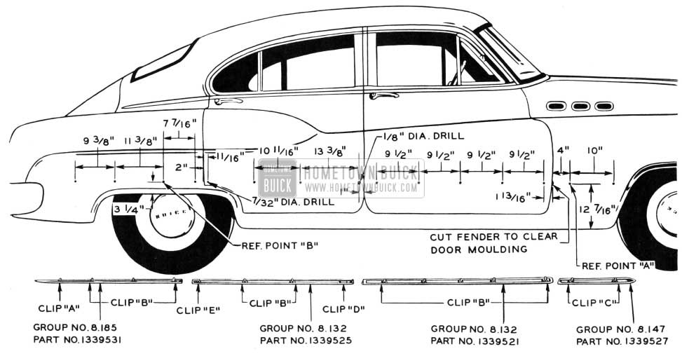 1950 Buick Body Side Moulding Dimensions