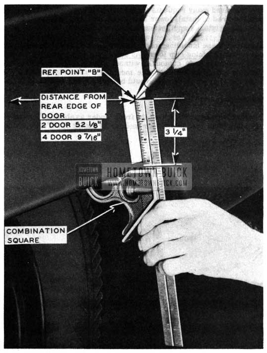 1950 Buick Side Moulding Installation Measurements