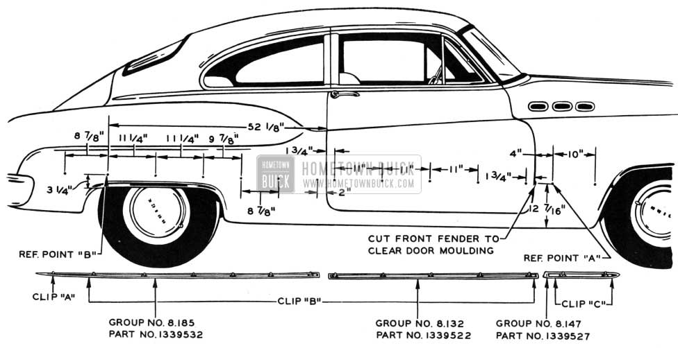 1950 Buick Body with Side Moulding Measurements
