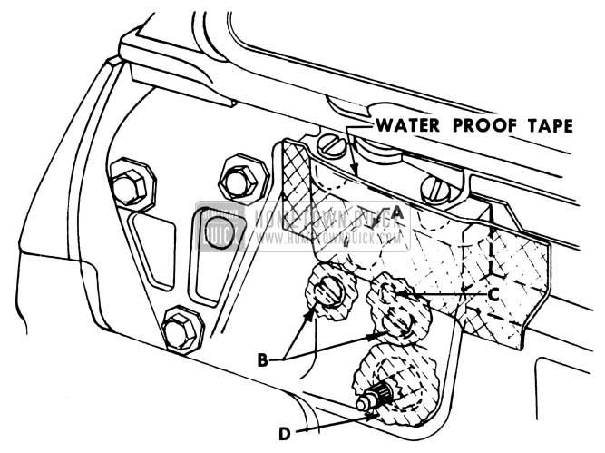 1951 Buick Door Lock Pillar Waterproof Tape