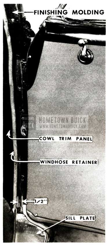 1951 Buick Front Body Hinge Pillar Weatherstrip