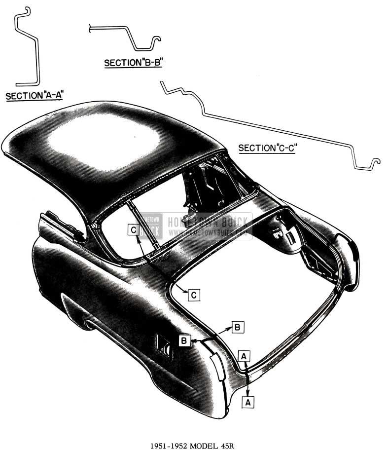 1952 Buick Body Weld Lines Diagram - Model 45R