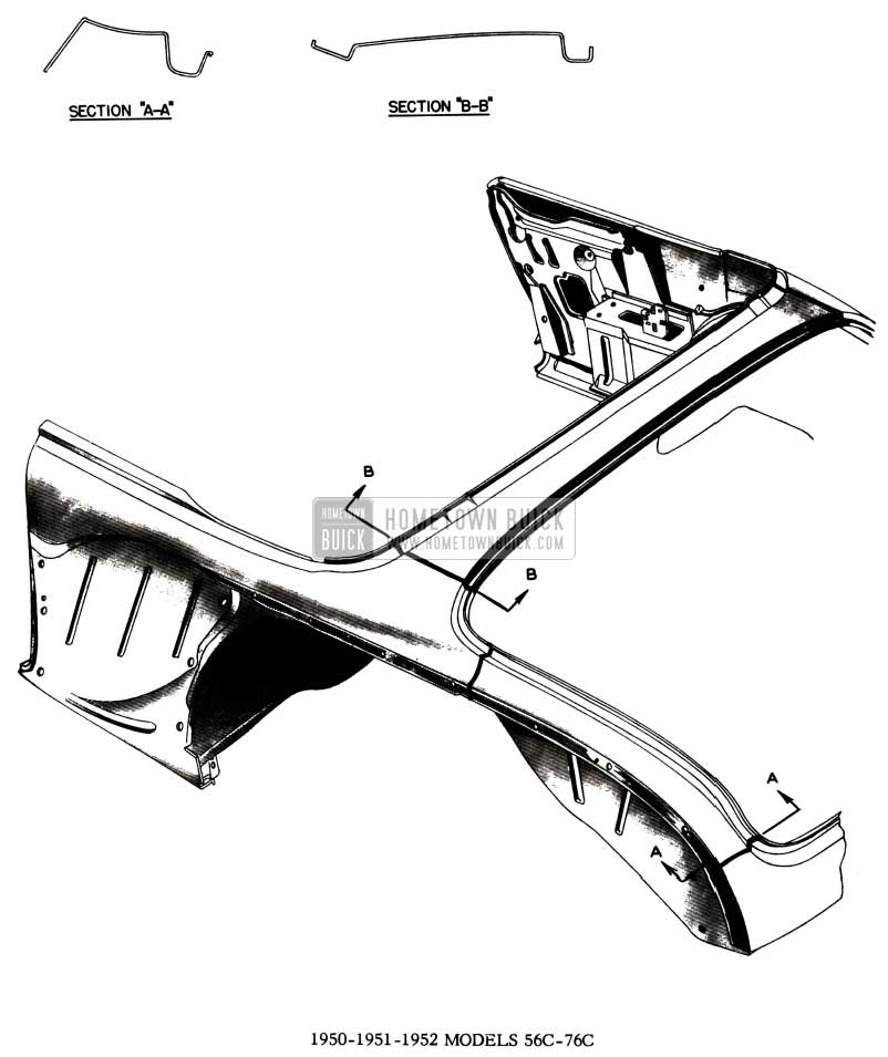 1952 Buick Body Weld Lines Diagram - Models 56C-76C