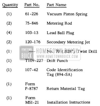 1952 Buick Carter Carburetor Part Numbers