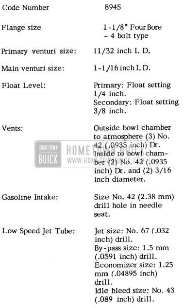 1952 Buick Carter Carburetor Specifications