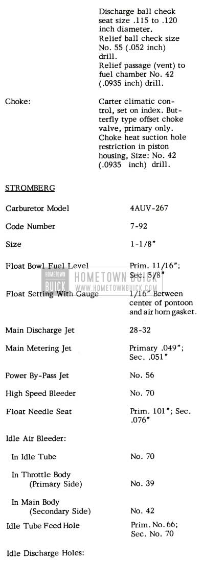 1952 Buick Stromberg Carburetor Specifications