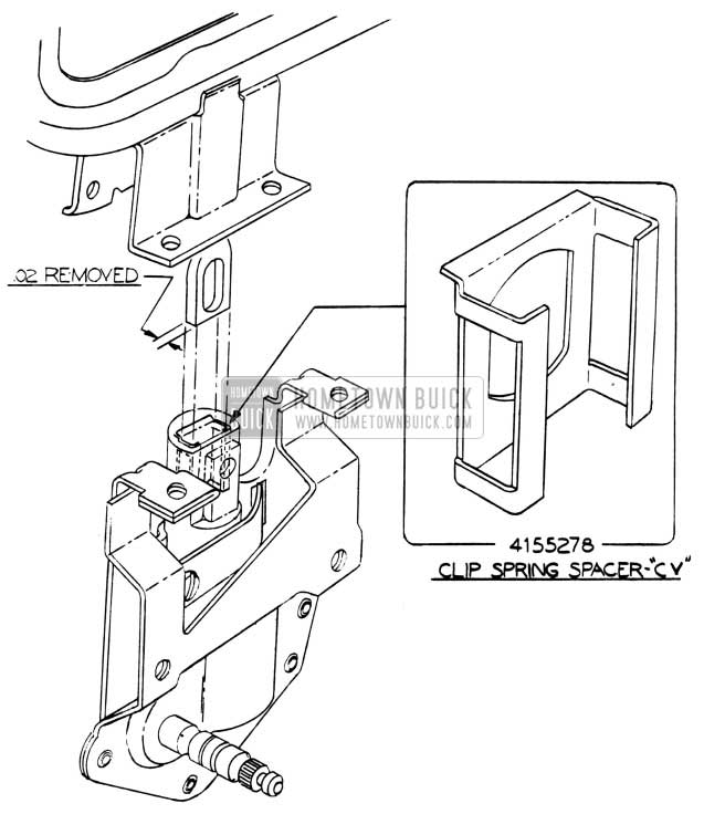 1953 Buick Door Ventilator Regulator Clip Spring Spacer