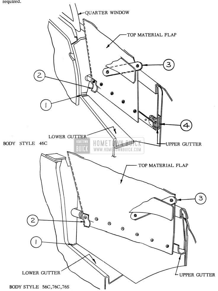 1953 Buick Folding Top Compartment Side Panel Area Sealing