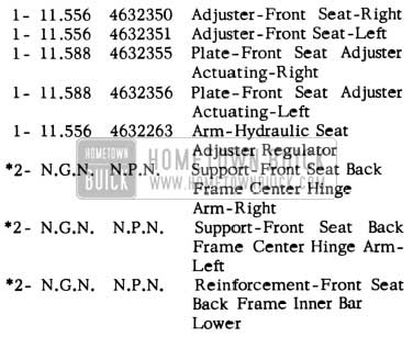 1953 Buick Front Seat Adjuster Kit Parts - Roadmaster Series and Convertibles