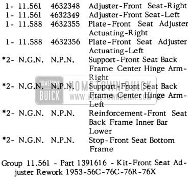 1953 Buick Front Seat Adjuster Kit Parts - Super Series