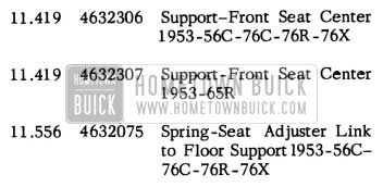 1953 Buick Front Seat Adjuster Part Numbers