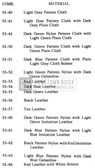 1953 Buick Trim Chart