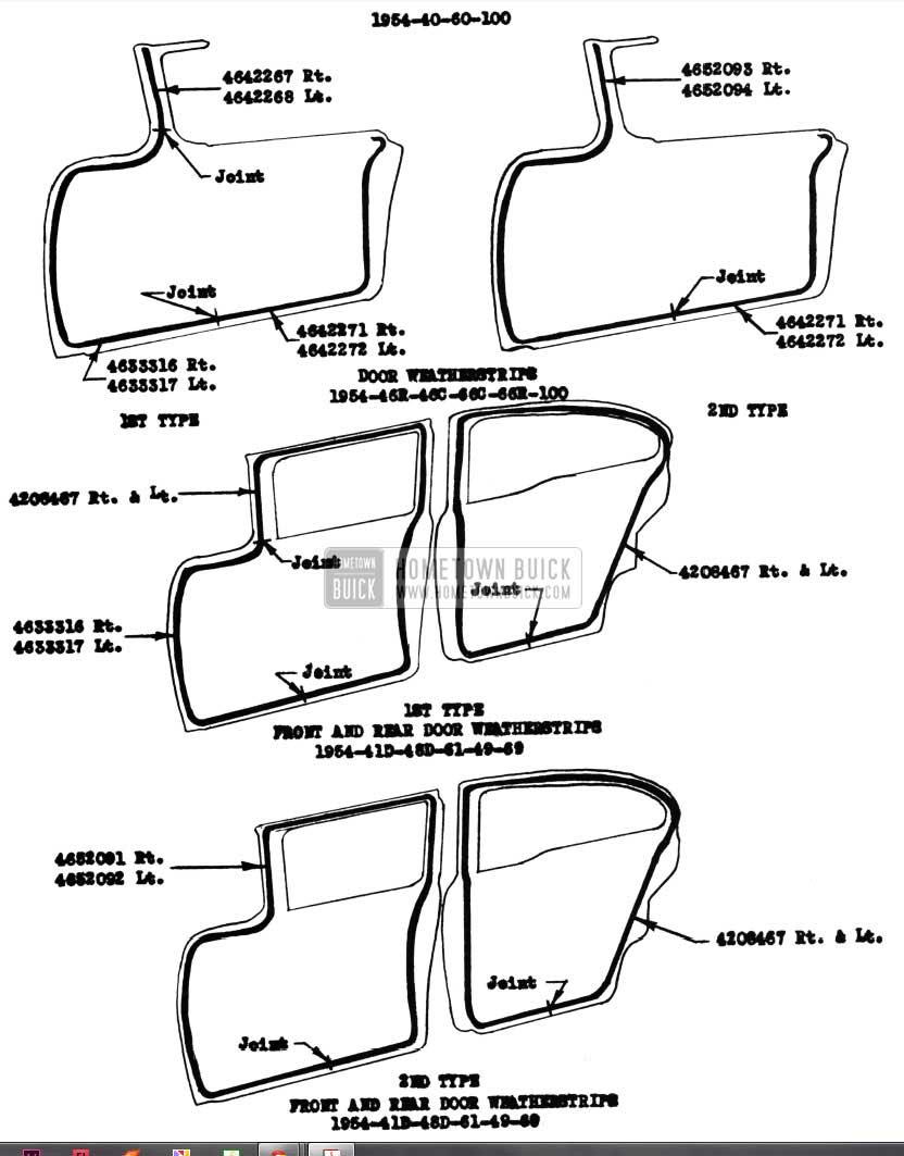 1954 Buick Door Weatherstrips Models 52-72R