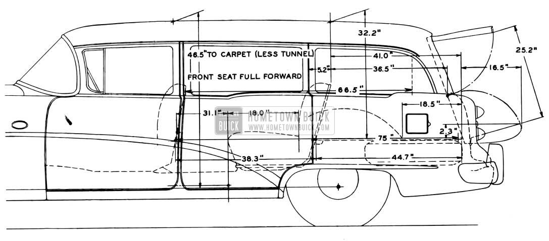 1954 Buick Estate Wagon Interior Dimensions - Side View