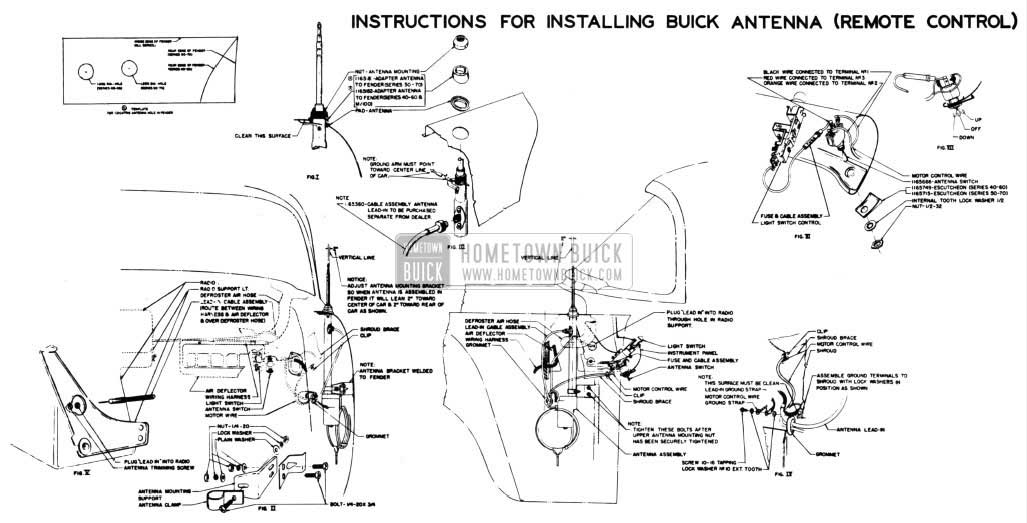 1954 Buick Remote Control Antenna Installation