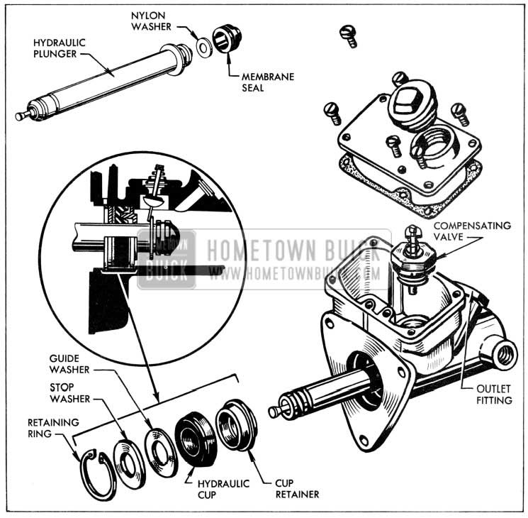 1957 Buick Hydraulic Cylinder Assembly Exploded