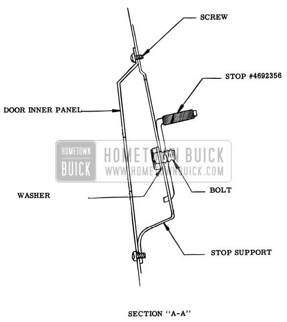 1957 Buick Rear Door Window Upper Stop Assembly