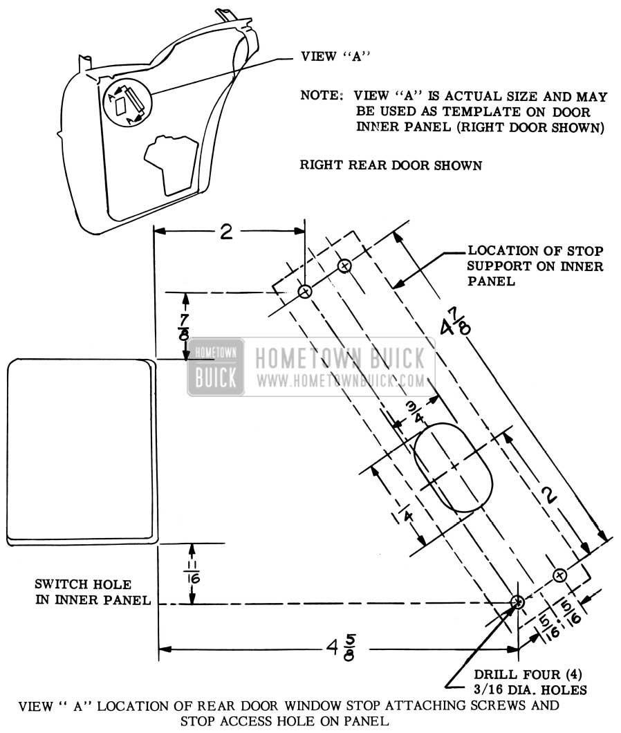 1957 Buick Rear Door Window Upper Stop Attaching Screws