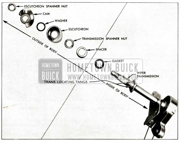 1957 Buick Windshield Wiper Exploded View