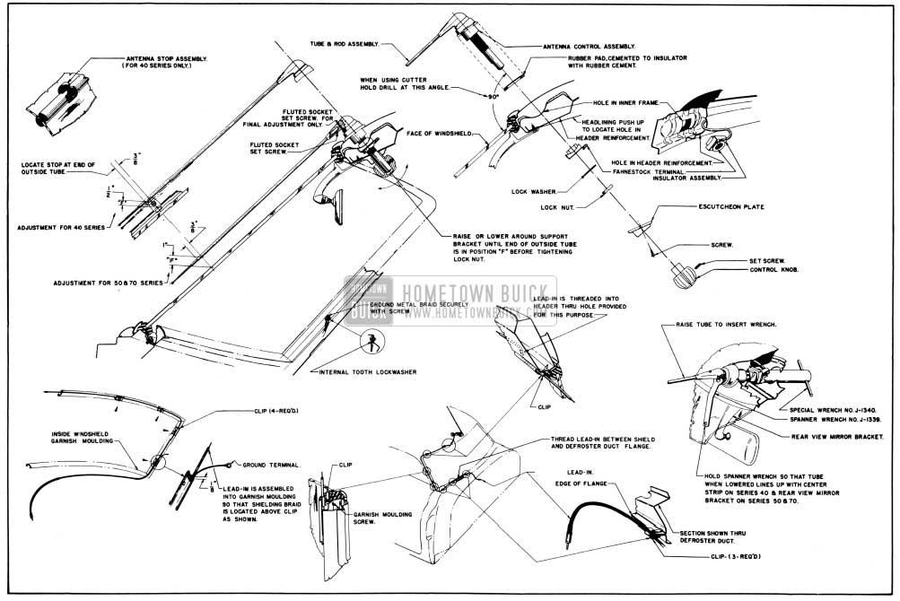 1950 Buick Antenna Installation Details-Closed Bodies