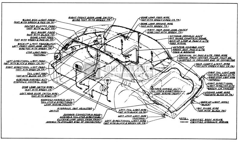 1950 Buick Body and Hydro-Lectric Wiring Circuit Diagram-Models 52, 72-Styles 4519, 4719