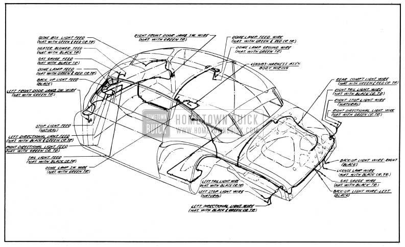 1950 Buick Body Wiring Circuit Diagram-Model 56R-Style 4537