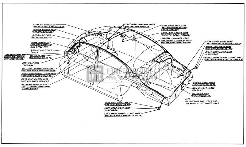 1950 Buick Body Wiring Circuit Diagram-Models 43,43D-Styles 4408, 4408D