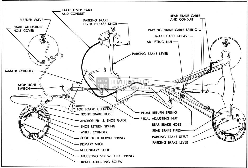 1950 Buick Brake Mechanism Layout