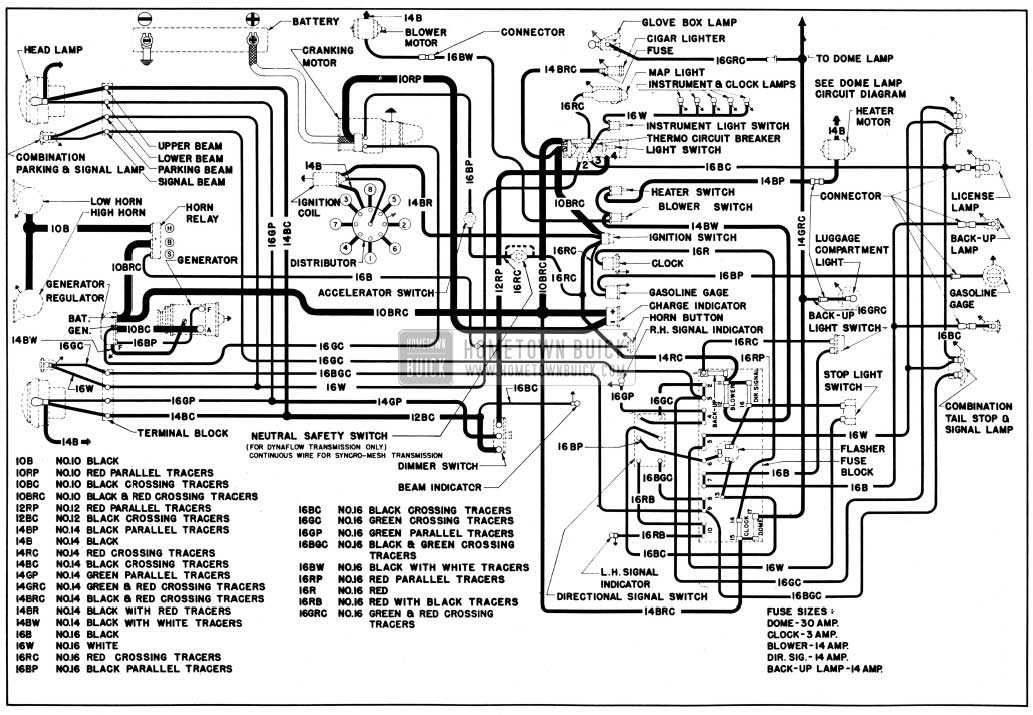 1950 Buick Chassis Wiring Circuit Diagram-First Series 40 with Direction Signals