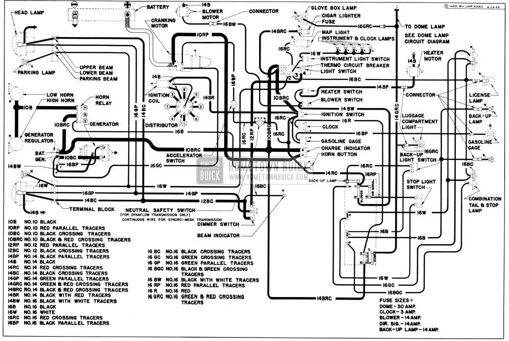 1950 Buick Chassis Wiring Circuit Diagram-First Series 40 Without Direction Signals