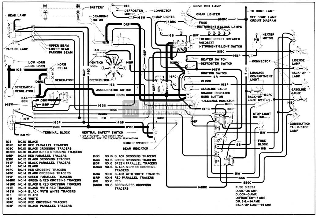 1950 Buick Chassis Wiring Circuit Diagram-Second Series 40 Without Direction Signals
