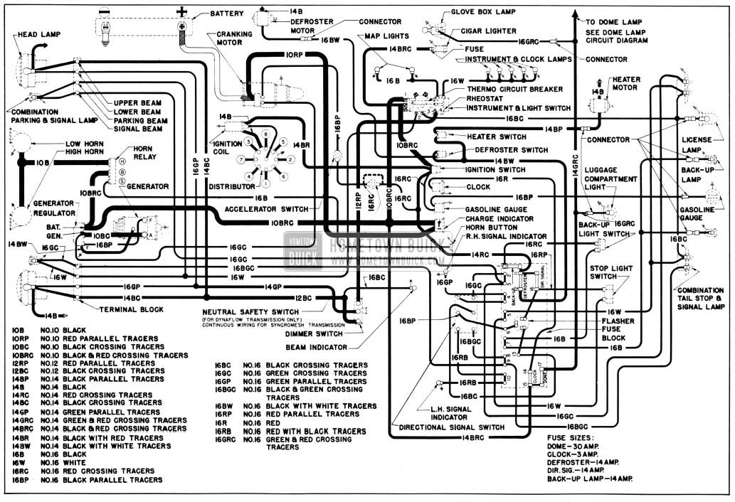 1950 Buick Chassis Wiring Circuit Diagrams-Second Series 40 with Direction Signals, All Series 50-70