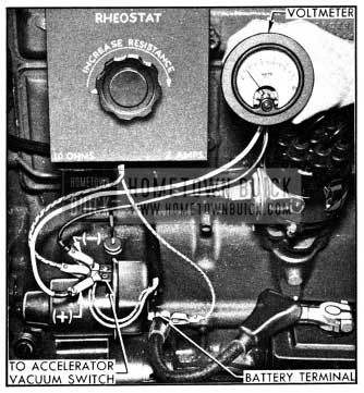 1950 Buick Connections for Testing Cut-in and Cut-out Voltages of Solenoid Switch Relay