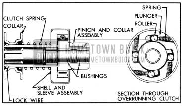 1950 Buick Cranking Motor Drive Assembly, Sectional Views