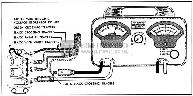 1950 Buick Current Regulator Test Connections-Variable Resistance Method