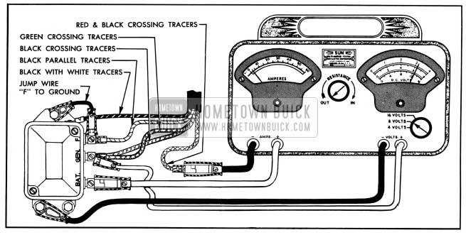 1950 Buick Cutout Relay Test Connection-Variable Resistance Method
