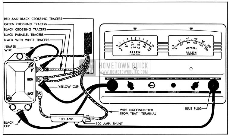 1950 Buick Cutout Relay Test Connections-Fixed Resistance Method