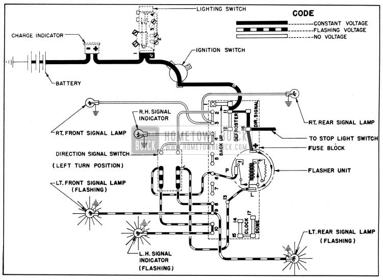 1950 Buick Direction Signal Lamp Circuit Diagram, Left Turn Indicated