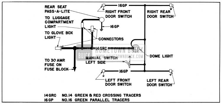 1950 Buick Dome Lamp Wiring Circuit Diagram-Models 51, 52, 71, 72