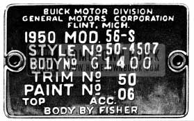 1950 Buick Body Tag