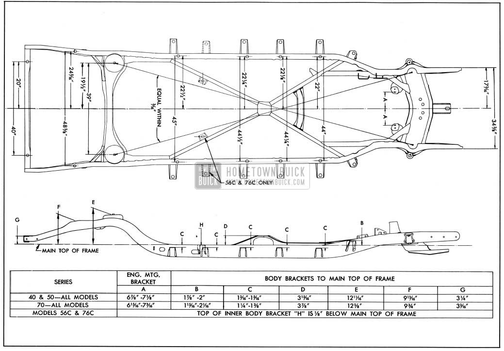 1950 Buick Frame Checking Dimensions