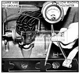 1950 Buick High Discharge Test of Battery Cell with Voltmeter
