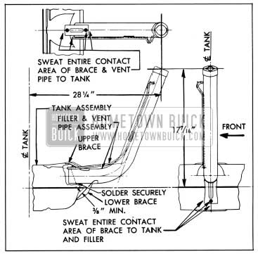 1950 Buick Location Dimensions for Installing Gasoline Tank Filler