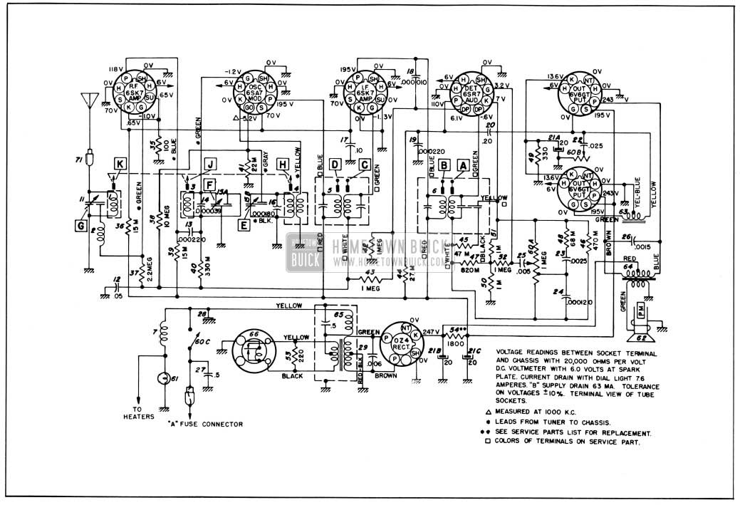 1950 Buick Radio Circuit Schematic-Sonomatic Radio
