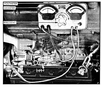 1950 Buick Testing Battery Cables and Connections with Voltmeter, Ammeter, and Rheostat