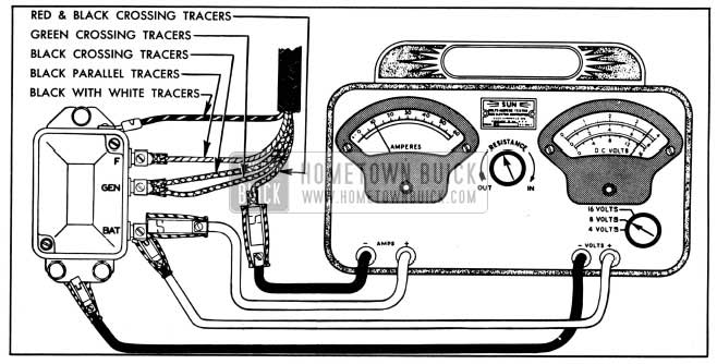 1950 Buick Voltage Regulator Test Connection-Variable Resistance Method