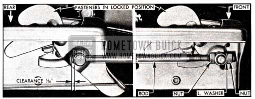 1951 Buick Adjustment of Hood Fastener Operating Rod