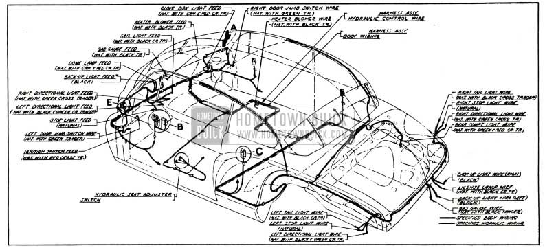 1951 Buick Body and Hydro-Lectric Wiring Circuit Diagram-Model 76R-Style 4737X